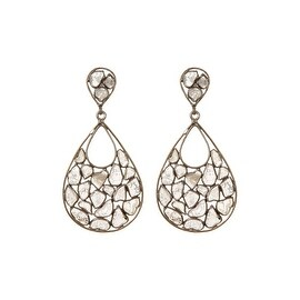 Genuine Slice Diamond Tear Drop Shape Earring in 925 Sterling Silver
