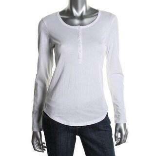 Alternative Womens Juniors Cotton Solid Henley Top - L