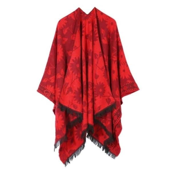 Womens Reversible Oversized Poncho Cape Warm Shawl Wrap Open Front Printed Blanket Cardigans