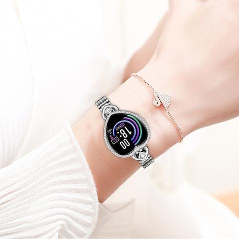 Women Bracelet Heart Shaped IP67 Blood Pressure Heart Rate Monitor Smartband