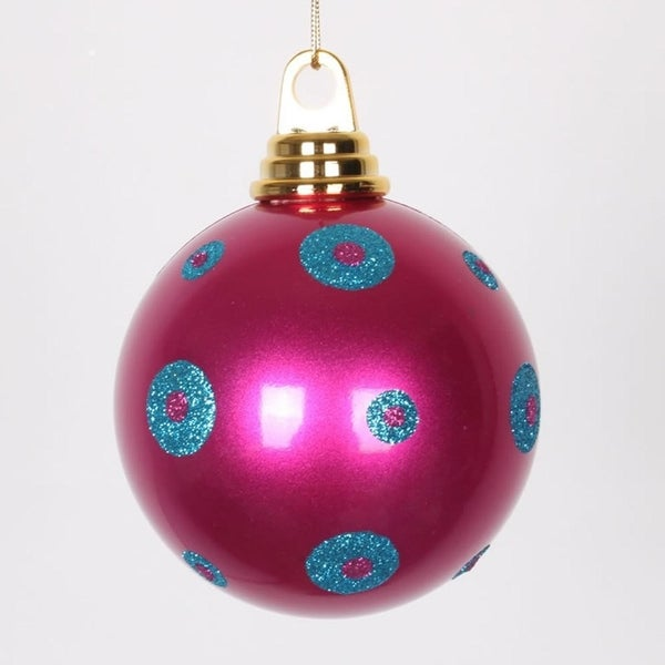 "Candy Pink with Turquoise Blue Glitter Polka Dots Christmas Ball Ornament 4.75"" (120mm)"
