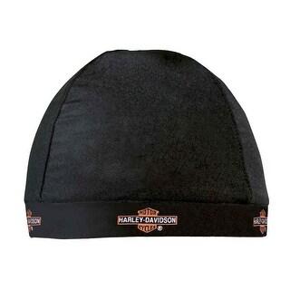 Harley-Davidson Skull Cap, Repeated Long Bar & Shield Logo, Black HC31230