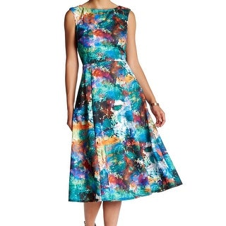 Betsey Johnson NEW Teal Green Floral Printed 6 Midi A-Line Tea Dress