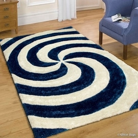 Allstar Blue Shaggy Area Rug with 3D Spiral Design. Contemporary Formal Casual Hand Tufted (5' x 7')