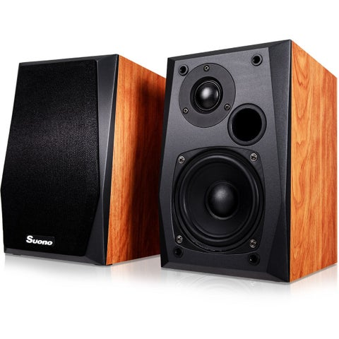 Costway Wall-mount Passive Bookshelf Speakers Professional Home Office W/ 4'' Woofer