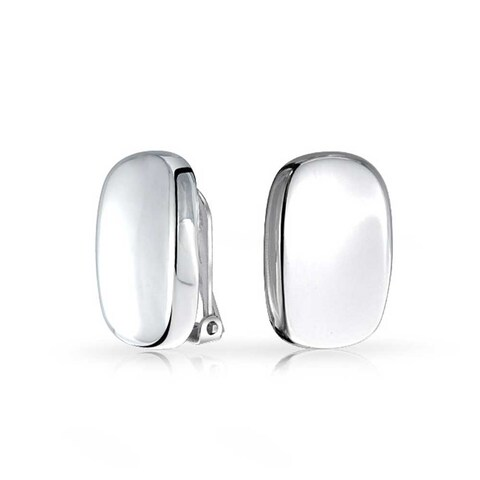 Bling Jewelry Concave Rectangle 925 Silver Clip On Earrings Alloy Clip