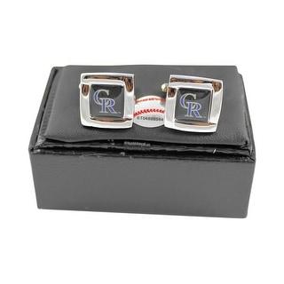 MLB Colorado Rockies Square Cufflinks with Square Shape Logo Design Gift Box Set