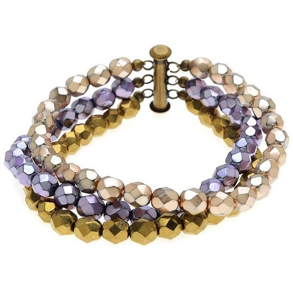 Ashley Multi-Strand Bracelet -Purple/Bronze - Exclusive Beadaholique Jewelry Kit