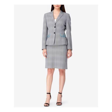 TAHARI Womens Gray Plaid Blazer Wear to Work Jacket Size 8