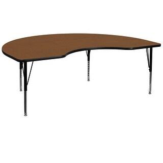 Fun & Games Activity Table 48''W x 96''L Kidney Oak High Pressure Laminate Adj Short Legs