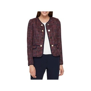 Tommy Hilfiger Womens Open-Front Blazer Tweed Embellished