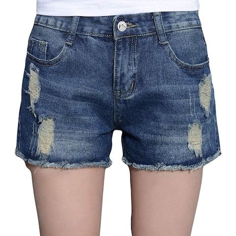 Blostirno Women's Denim Shorts Cuffed Short Jeans Pants High, Blue, Size Medium