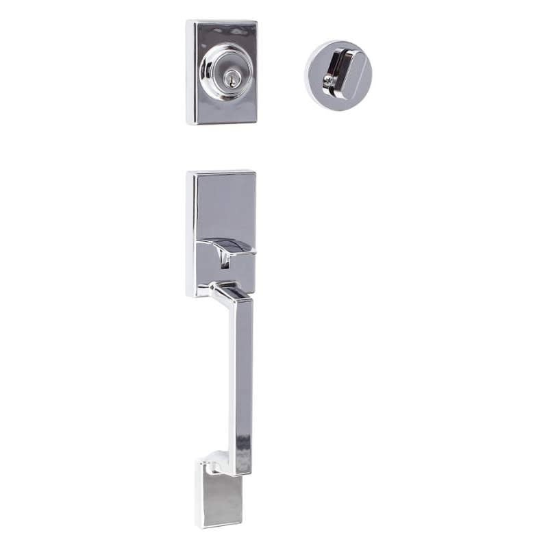 Build Essentials DHDW-R507SH  Winnipeg Single Cylinder Keyed Entry Handleset with Round Thumb Turn (Satin Stainless)