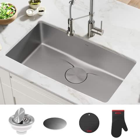 KRAUS Dex Stainless Steel Single Bowl Undermount Kitchen Bar Sink