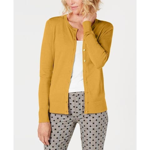 Charter Club Women's Long-Sleeve Button-Front Cardigan Yellow Size L - Large