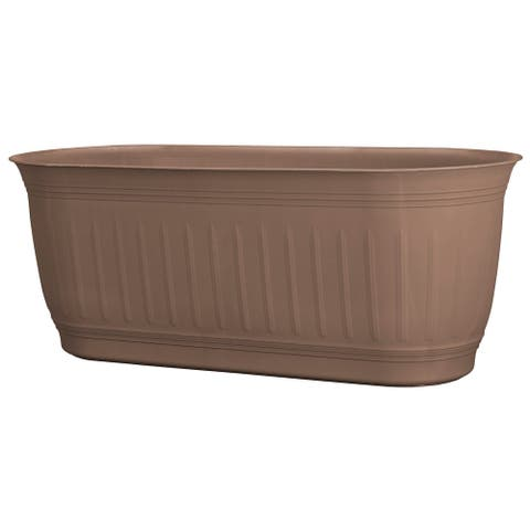 "Bloem Colonnade Wood Resin Window Box Planter 24"" Dark Earth Brown - 24"
