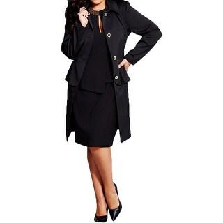 City Chic Womens Trench Coat Long Sleeves Peplum - S