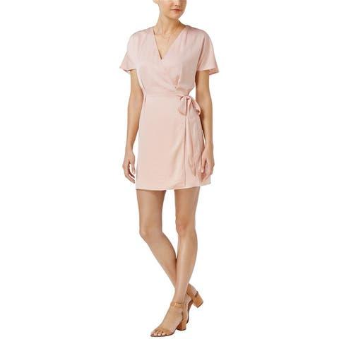 Bar Iii Womens Faux Wrap Shift Dress