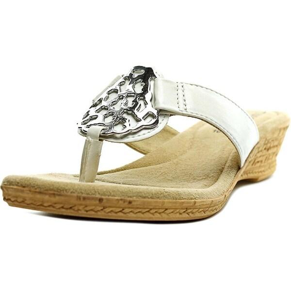 Easy Street Rossano Women Open Toe Leather White Thong Sandal