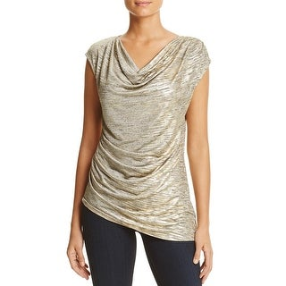 Calvin Klein Womens Blouse Metallic Ruched