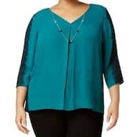 NY Collection Blue Women's Size 3X Plus Lace Trim Necklace Blouse
