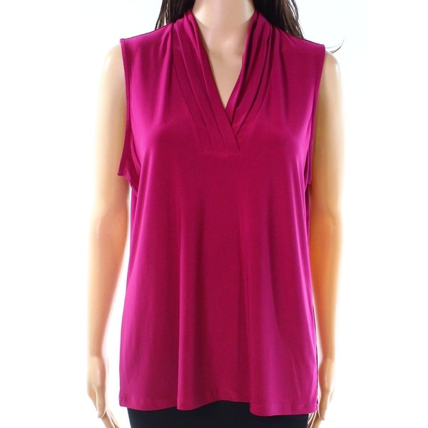 Anne Klein Purple Womens Size Small S Pleated V-Neck Stretch Blouse