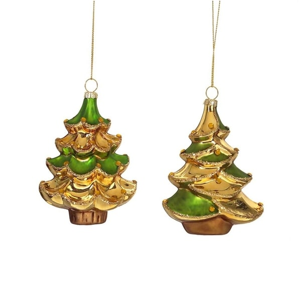 "Club Pack of 12 Golden Tree Glass Christmas Ornaments 4.5"" - GOLD"