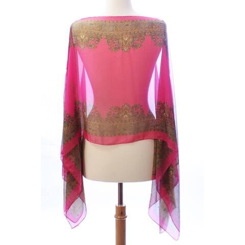 Women Paisley Print Kimono Lightweight Sheer Chiffon Poncho Cover Up