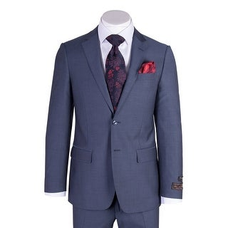 Tiglio Novello Blue Herringbone Modern Fit, Pure Wool Suit 12A004 (More options available)