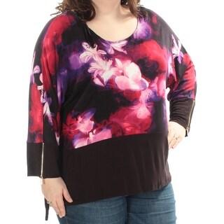 Womens Black Purple Floral Zip Neck Top Size 3X