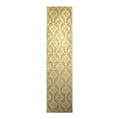 """Eclectic, One-of-a-Kind Hand-Knotted Runner - Green, 3' 3"""" x 13' 6"""" - 3' 3"""" x 13' 6"""""""