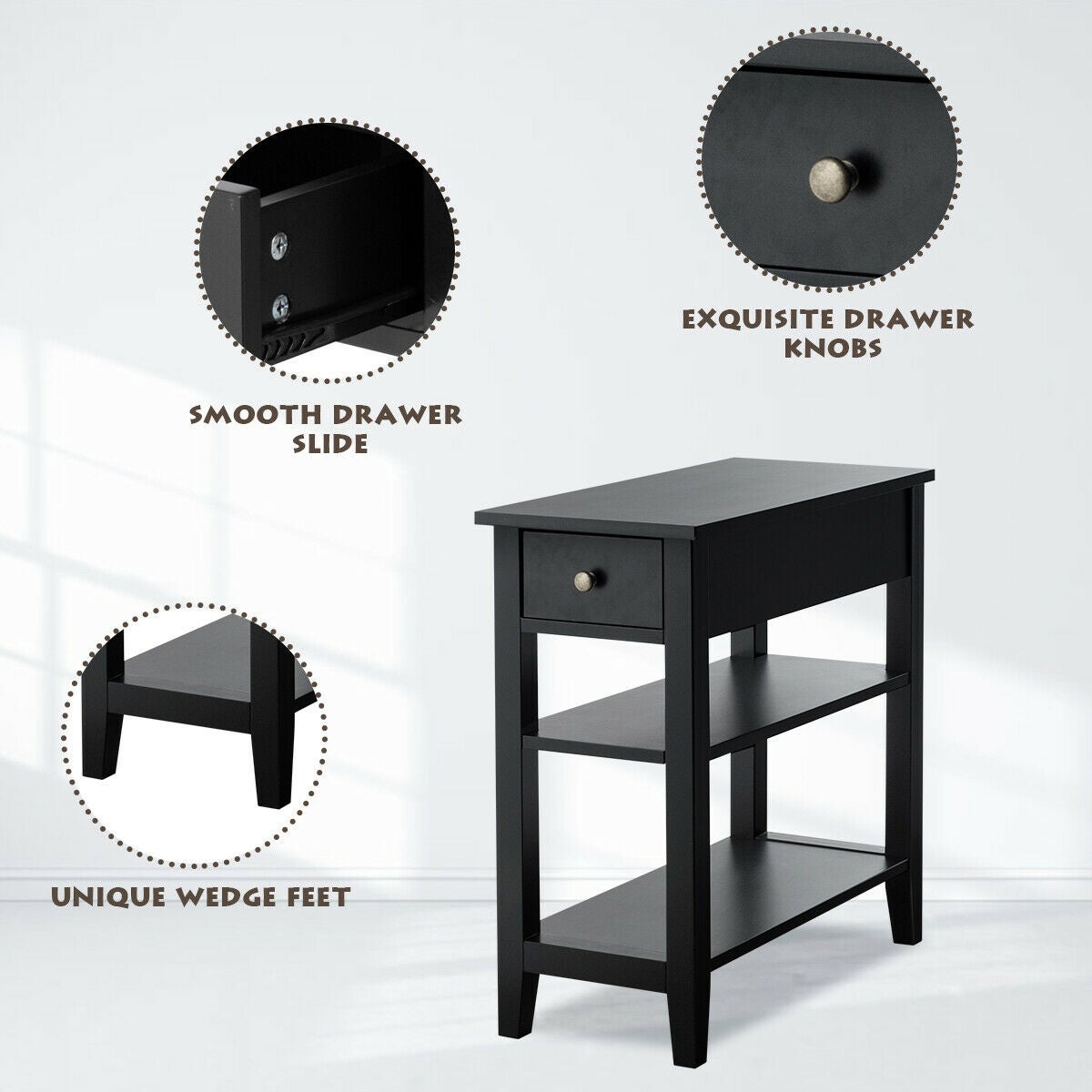 3 Tier Sofa Side End Table With Double Shelf 1 Drawer Nightstand Bedside Table Home Garden Nightstands