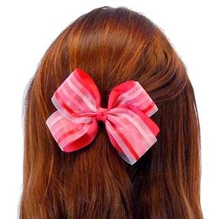 Proud Variegated Pinstripe Jumbo Hair Bow Clip, Set of 4