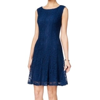Connected Apparel NEW Blue Women's Size 10 Sheath Solid Lace Dress