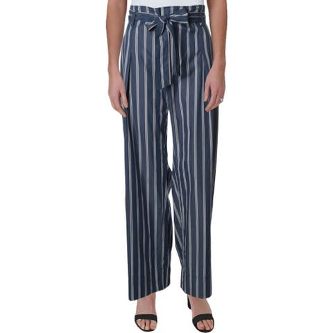 Lauren Ralph Lauren Womens Petites Theone Pants Cotton Ruffled - Blue/White