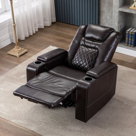 Home Theater PU Leather Power Recliner with USB Charge Port and Cup Holder