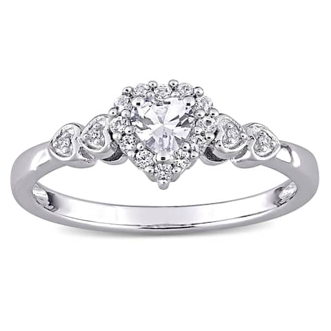 Miadora Sterling Silver Created White Sapphire & Diamond Accent Halo Heart Engagement Ring