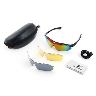 ROBESBON Authorized Sports Exchangeable Lens Bike Cycling Glasses Set Black Red