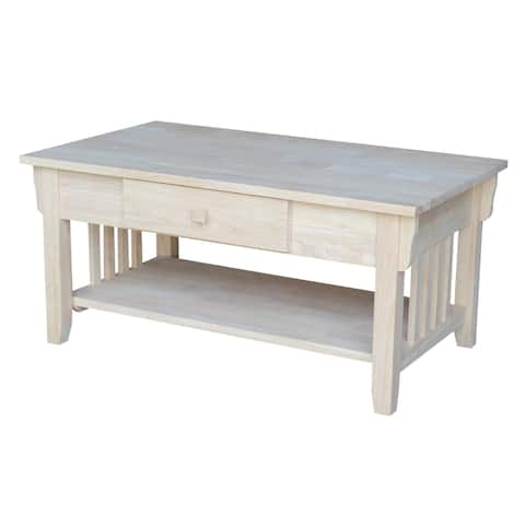 Unfinished Solid Parawood Mission Coffee Table