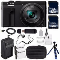 Panasonic LUMIX 4K DMC-ZS60 Digital Camera (Black) (International Model) No Warranty + Small Case + Mini HDMI Cable Bundle