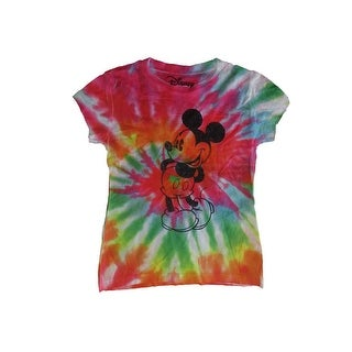 Disney Girls Multi Color Tie-Dye Mickey Mouse Print Trendy T-Shirt