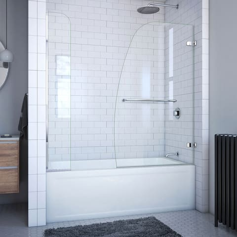 """DreamLine Aqua Uno 56-60 in. W x 58 in. H Frameless Hinged Tub Door with Extender Panel - 56"""" - 60"""" W"""