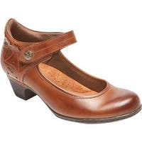 Rockport Women's Cobb Hill Abbott Ankle Strap Mary Jane Almond Full Grain Leather