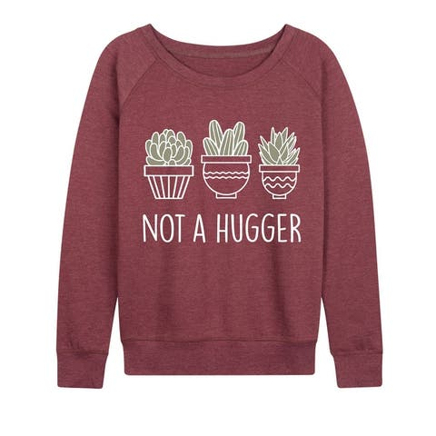 Not A Hugger - Women's Lightweight French Terry Pullover - Heather Maroon