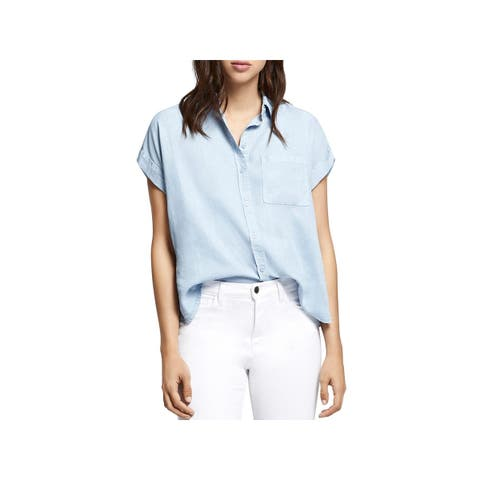 Sanctuary Womens Button-Down Top Cuffled Utility Pocket