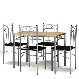 Costway 5PCS Dining Set Table and 4 Chairs Home Kitchen Modern Furniture - Brown