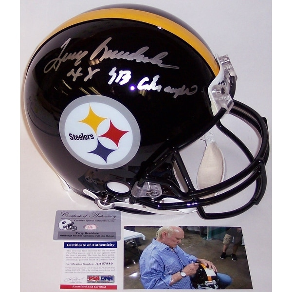 3a602110e Shop Terry Bradshaw Autographed Hand Signed Pittsburgh Steelers Full Size Authentic  Helmet - PSA DNA - Free Shipping Today - Overstock - 12904715