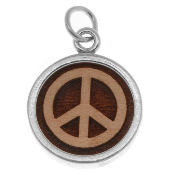 Sterling Silver Charm Maplewood Peace Sign 23mm (1)