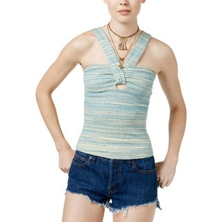 Free People Womens Beach Cruiser Halter Top Keyhole Space Dye