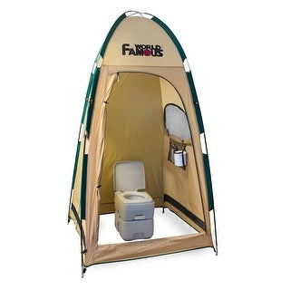 World Famous Porta-Privy Privacy Bathroom Tent Shelter - Tan/ Green